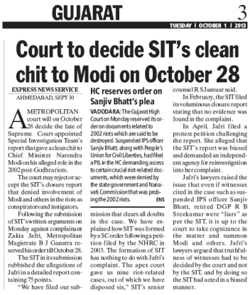 Court to decide SIT's clean chit to Modi on October 28