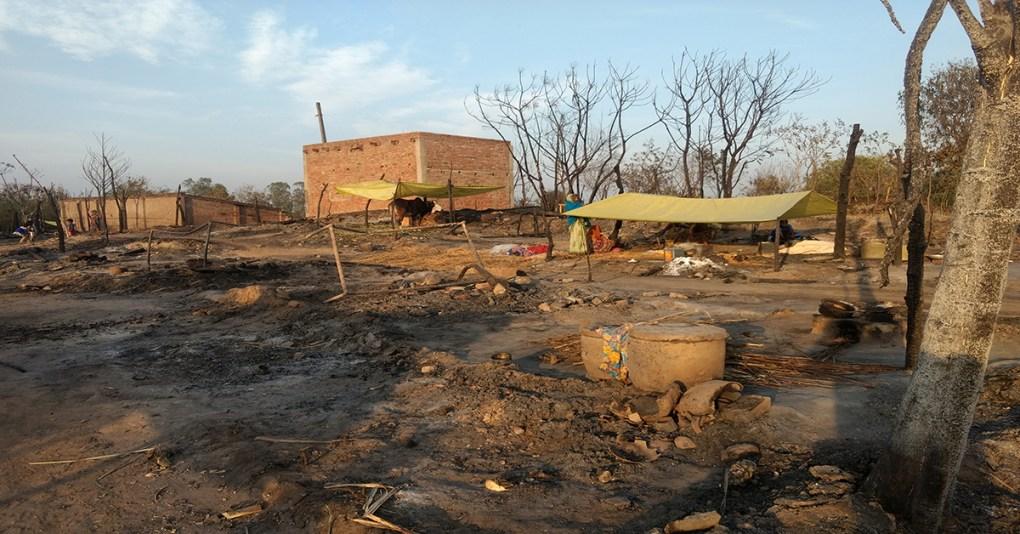 Forest village burns in Lakhimpur Khiri