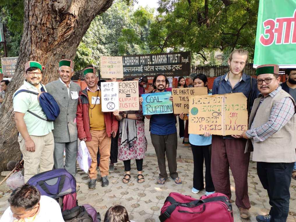 Himachali protestors at the rally.