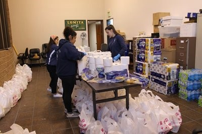 City of Lomita community members assembling care packages