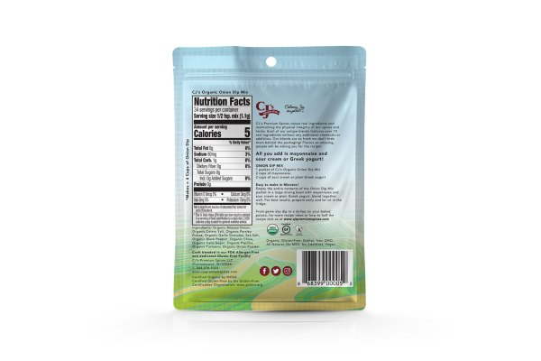 Organic Onion Dip Mix, Organic, Kosher, Gluten Free Certified, clean label, delicious