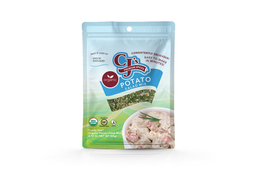 CJ's Organic Potato Salad Mix, CJ's Organic Potato Salad Mix, Organic, Kosher, Gluten-Free by GFCO, Clean label ingredients, delicious, potato salad, new packaging