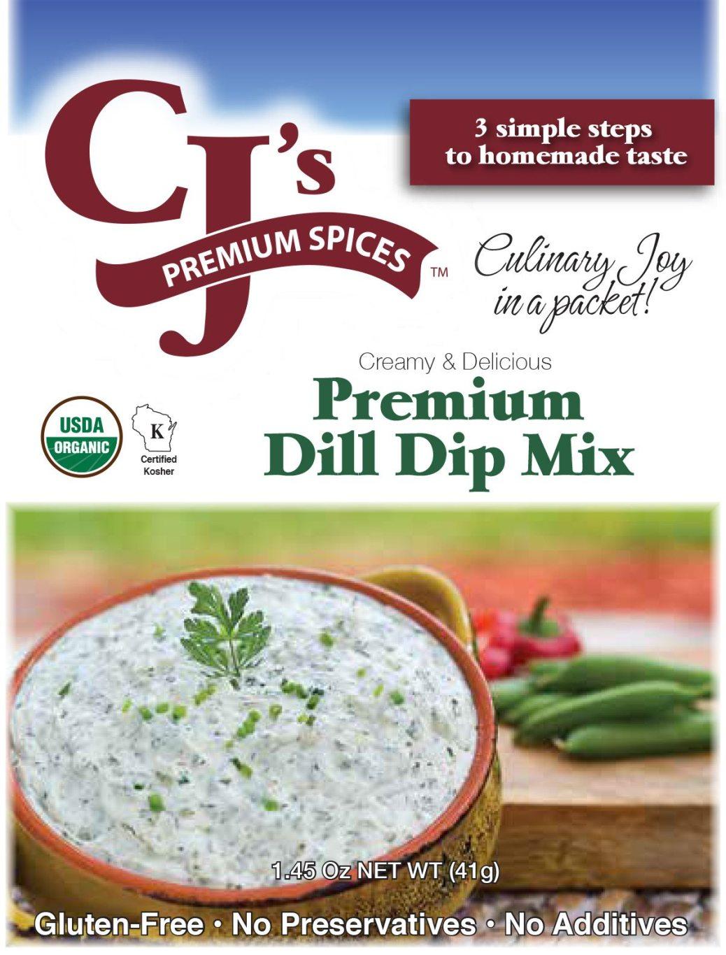 CJ's Premium Dill Dip Mix, Organic Dip, Organic Dill Dip Mix, Organic Dill Dip, sofi award winner, Dill Dip
