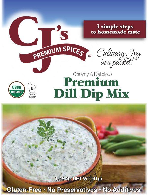 dill dip mix- online order, CJ's Premium Dill Dip Mix, Organic Dip, Organic Dill Dip Mix, Organic Dill Dip, sofi award winner, Dill Dip