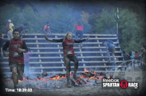 Fire jump before the finish line.