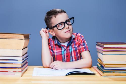 Schoolboy study at school, homework learning