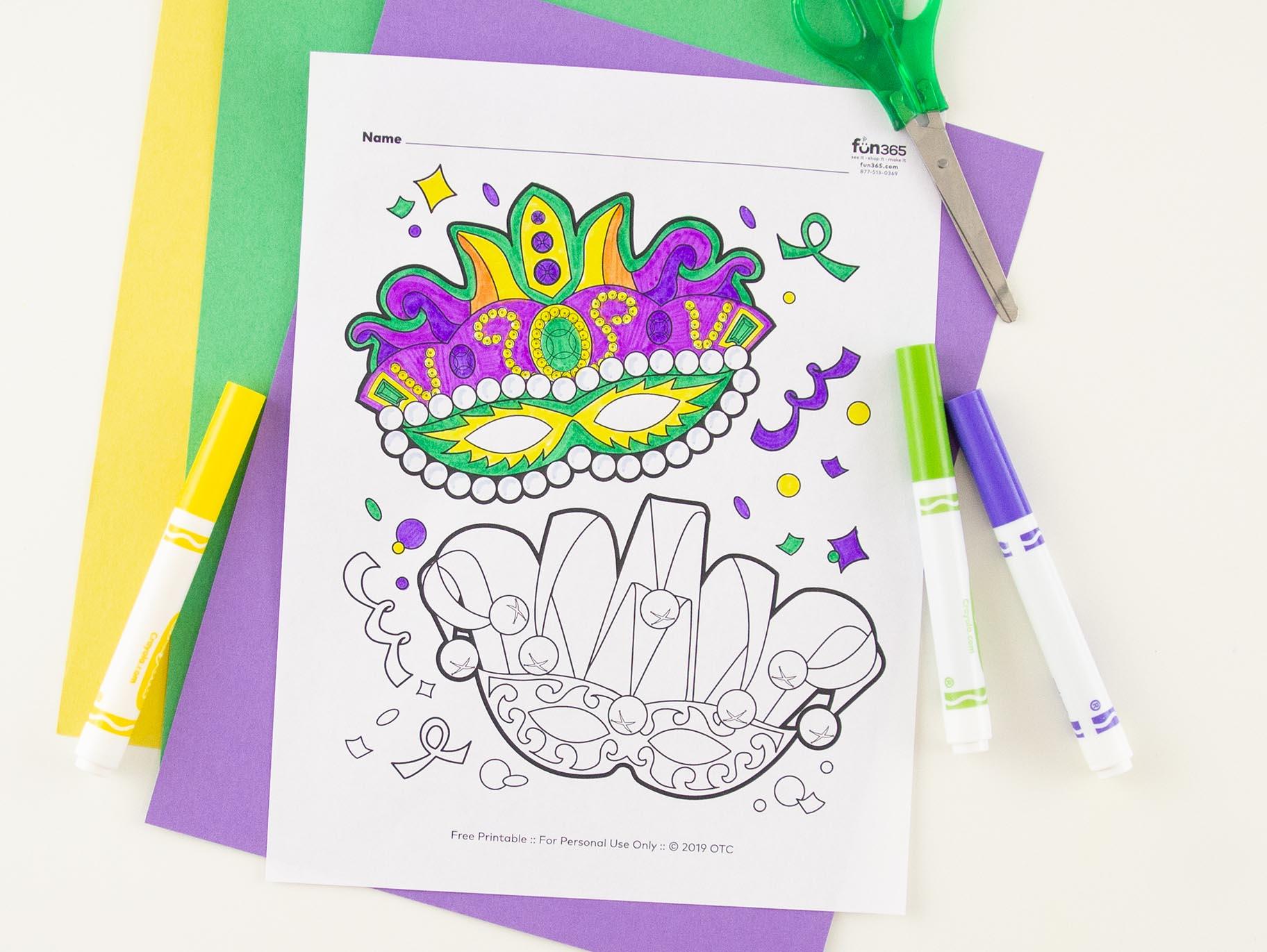 Mardi Gras Masks Free Coloring Page Fun365
