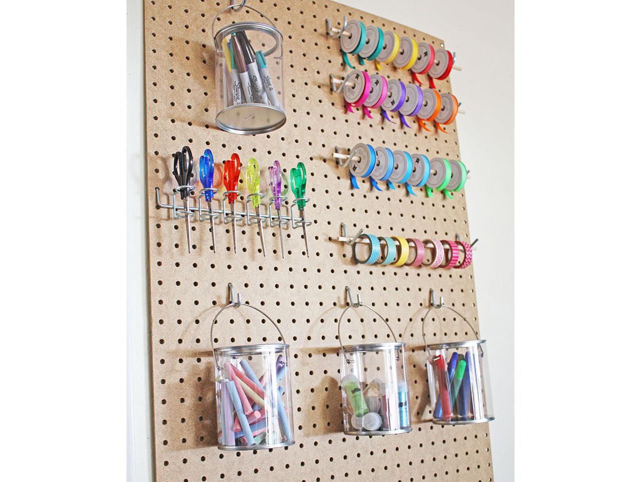 Get Organized Pegboard Craft Room Storage Idea Fun365