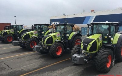 Claas in the Tomakomai-haven,Japan.