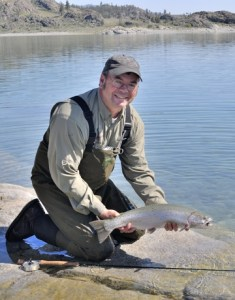 Daiichi Pro Staffer, Joe Warren ready to release a nice Lahontan cutthroat trout from Omak Lake, WA.