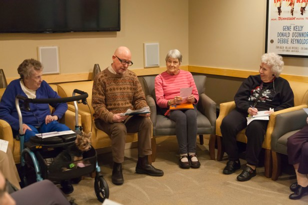 Vancouver Public Library - Library Technician Marcus Mendes reads aloud to seniors in a local care home. These readings came out of requests from patrons of our Outreach Services department (which provides books and other materials to patrons who have limited mobility and/or require assistive services)