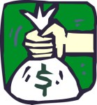 Public domain picture of a hand holding a money bag
