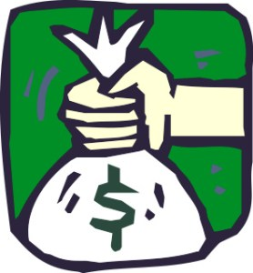 hand holding a money bag