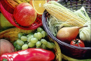 photo of a fresh fruit and vegetable basket