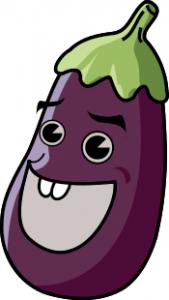 cartoon eggplant with a face