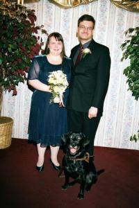 Fred, Sarah, and Leader Dog Gradi