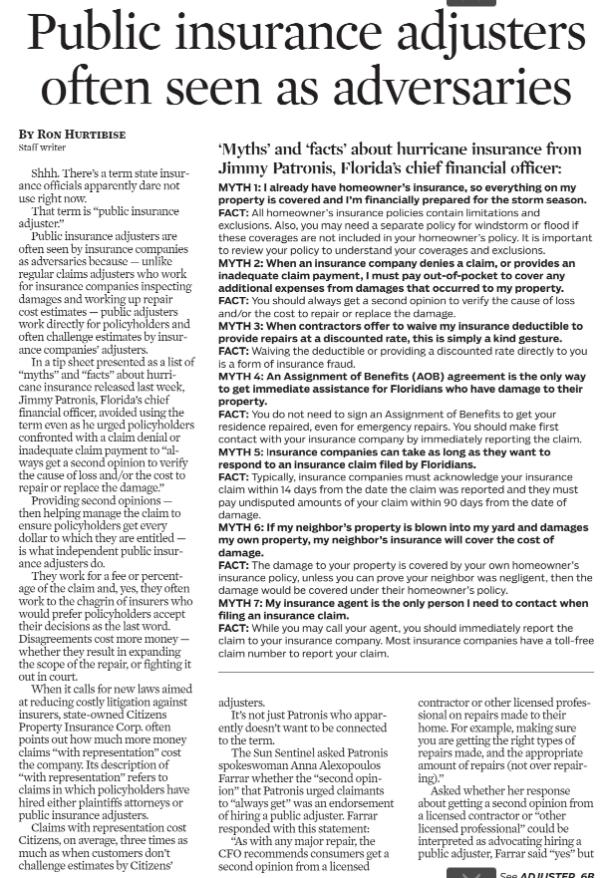 PA Sun Sentinel Article 5.15.18_pg1