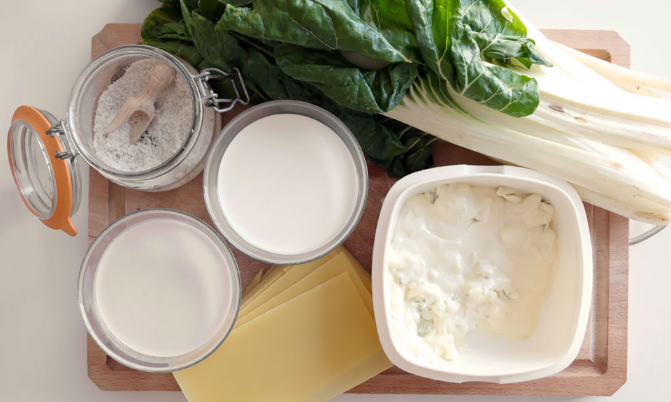 Les ingrédients pour les lasagnes blettes gorgonzola