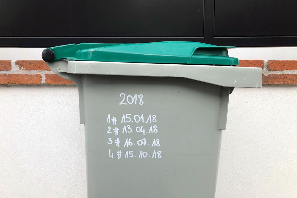 Les dates de sorties de poubelles en 2018