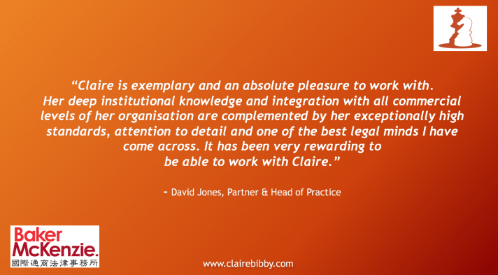 Mediator Testimonial: Claire is exemplary and an absolute pleasure to work with.  Her deep institutional knowledge and integration with all commercial levels of her organisation are complemented by her excepionally high standards, attention to details and one of the best legal minds I have come across.  It has been very rewarading to be able to work with Claire