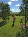 Child running on lawn