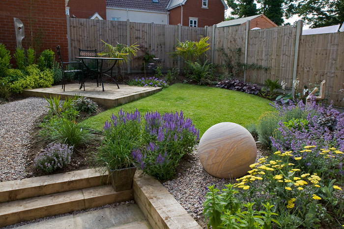 A town house garden by the seaside 4 months after planting