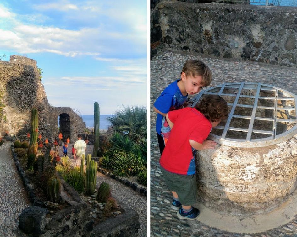 Visitare Aci trezza con i bambini-castello normanno giardino