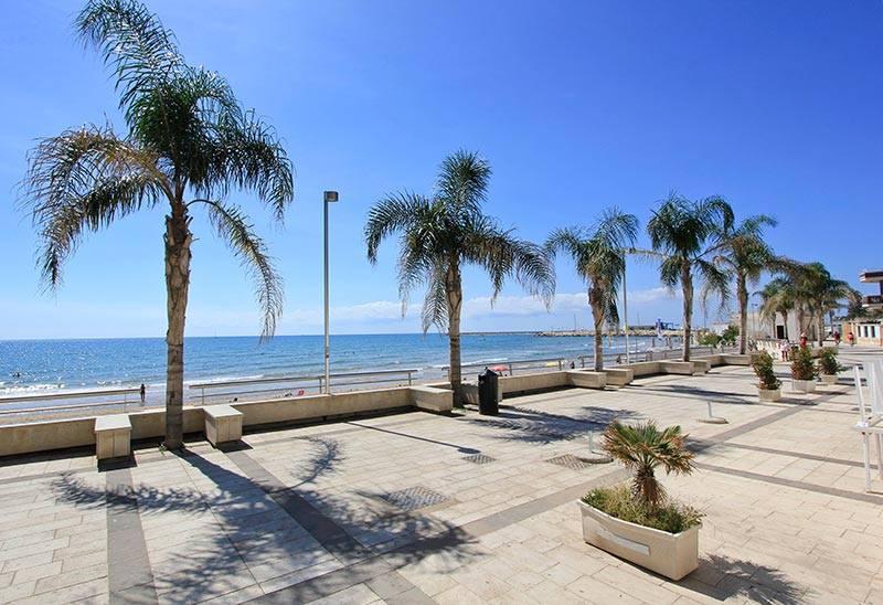 spiaggia con palme presso Marina di Ragusa