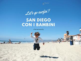 bambino che salta sulla spiaggia di San Diego