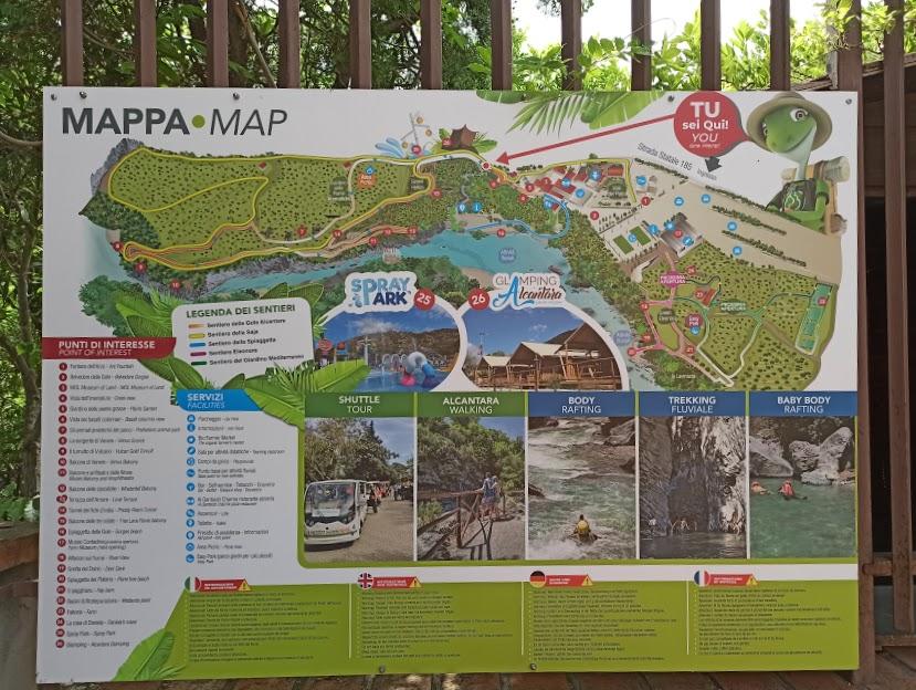 mappa del parco geologico botanico della gole dell'alcantara