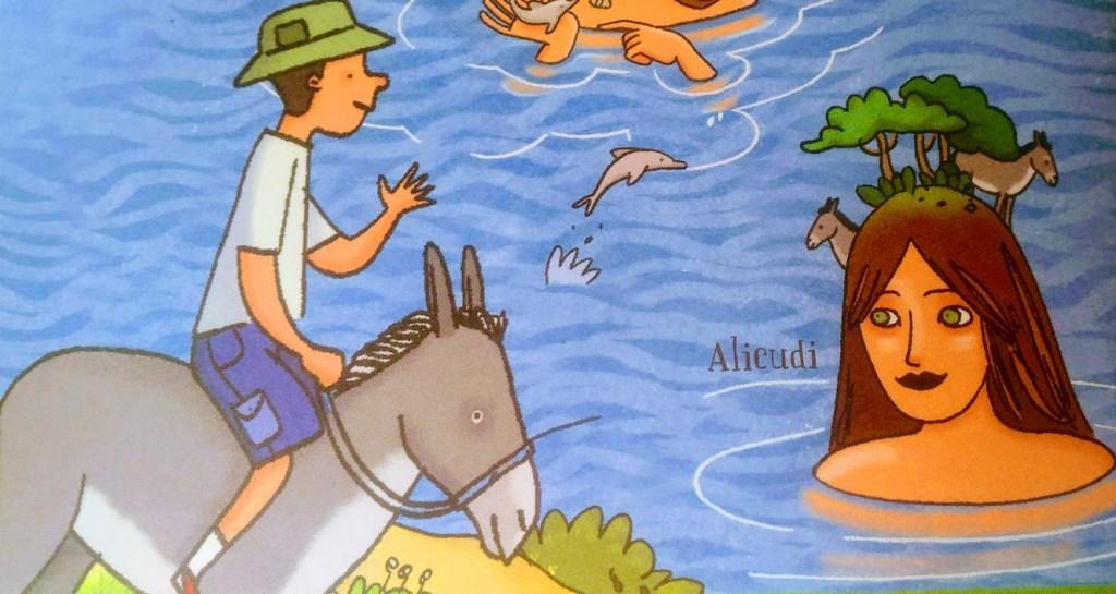 illustrazione di un bambino che fa un giro in asinello ad Alicudi alle isole eolie