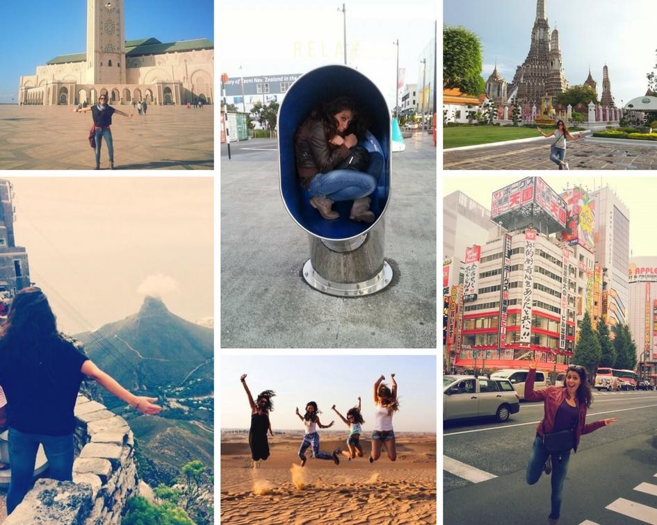 collage di foto di un'assistente di volo emirates in giro per il mondo