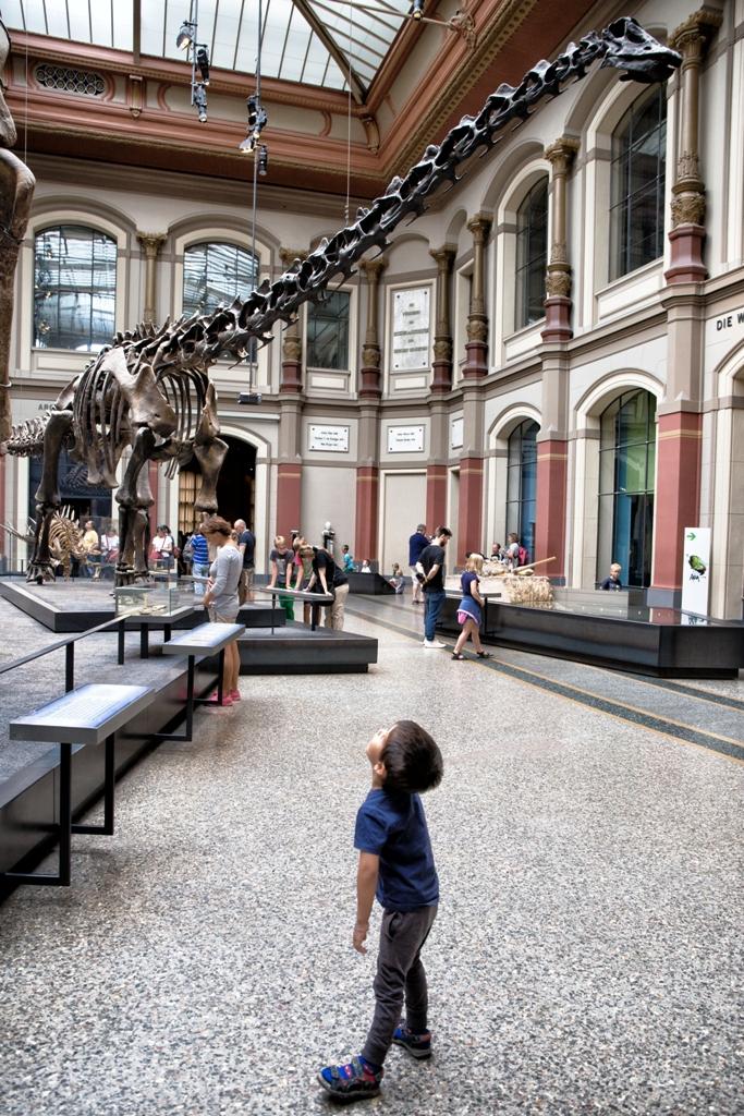 un bambino al museo di Berlino