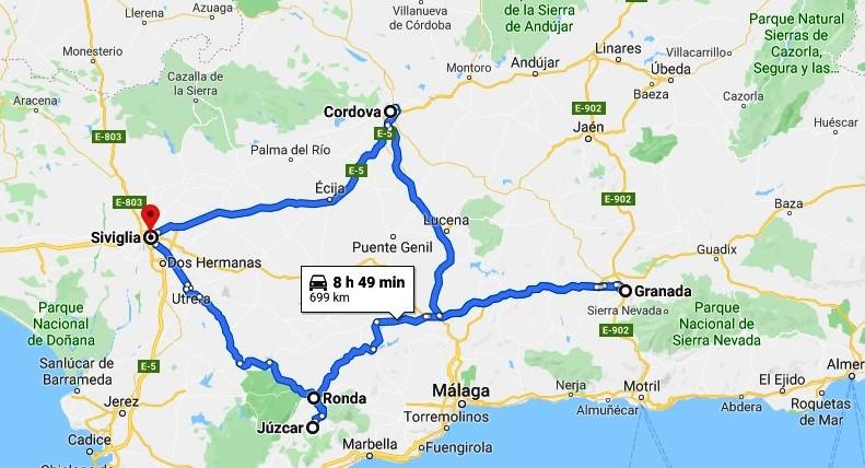 mappa itinerario andalusia con i bambini