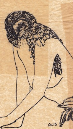 """Claire Marsh, """"feathered #1"""", 2013, Indian ink on sewing paper, 19x13cm"""