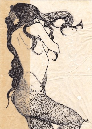 """Claire Marsh, """"furred"""", 2013, indian ink on sewing paper, 20 x 15cm"""