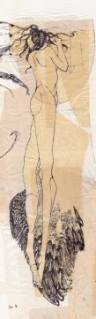 """Claire Marsh, 2016, """"I'm the hunter"""" panel 2, indian ink and gold leaf on sewing paper, 16 x 56 cm"""