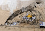 Claire Marsh, 2017, Stromboli, indian ink and gouache on sewing paper
