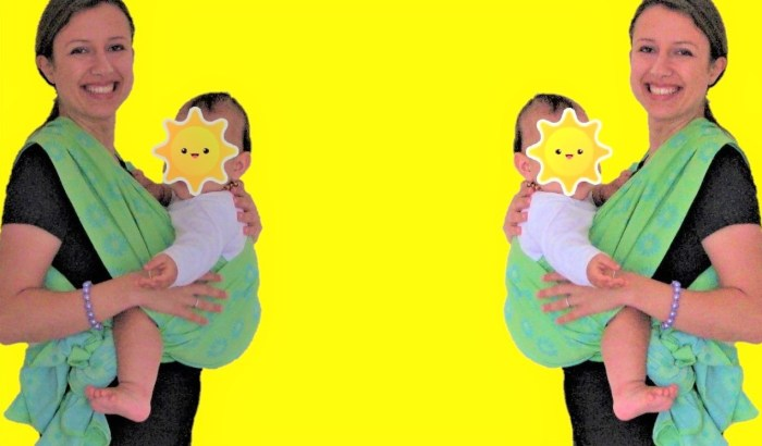 Babywearing: how to tie a front cross carry with a wrap baby carrier