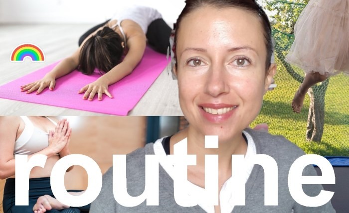 A #morning #routine with flexibility or meditation rebounder and yoga