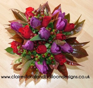 Tulip, rose and hypericum gift posy