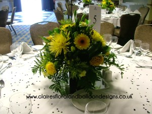 Floral centrepiece with gerbera, celosia and chrysanthemum