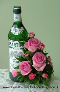 Pink rose bottle clip gift arrangement