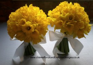 Daffodil bouquets as funeral tributes
