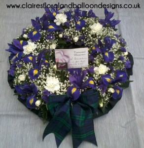 Iris and tartan funeral open wreath tribute