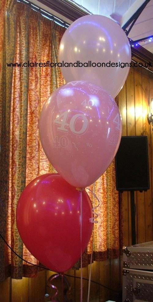40th birthday latex balloons