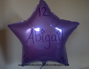 Personalised foil star balloon with glitter writing