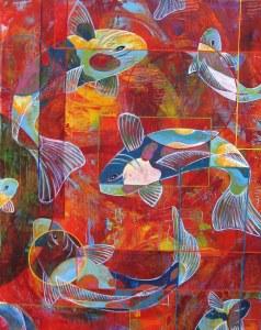 peinture acrylique carpes