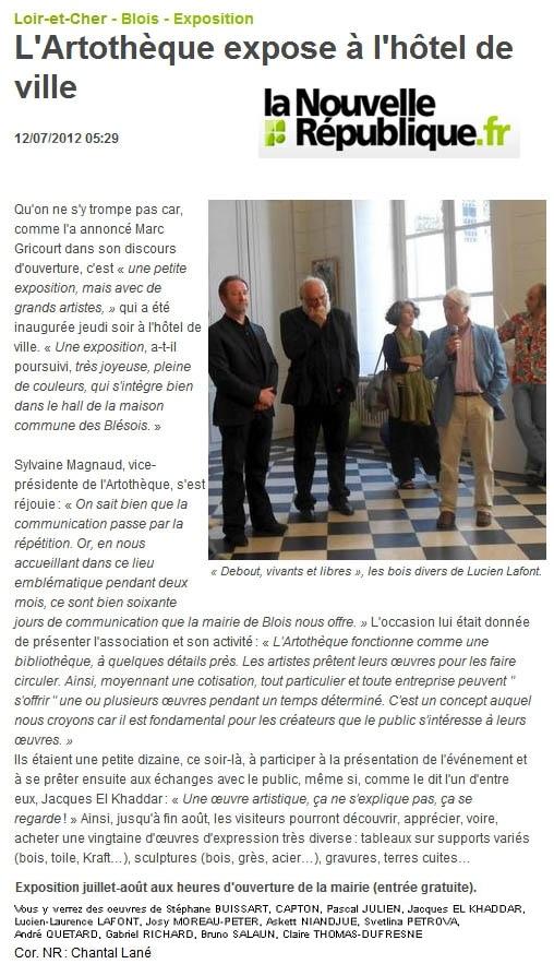 EXPO Mairie de Blois avec les artistes de l'Artothèque juil 2012