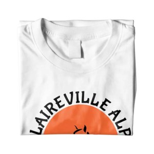 folded t-shirt with Claireville Alpaca logo